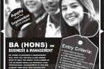 BA (Hons) in Business Management Final Year Degree Programme – New Intakes for September 2013 Enrollment