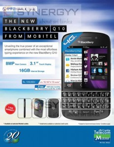 Blackberry Q10 for Rs. 109,900.00 from Mobitel