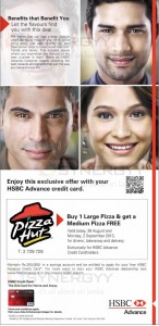 Buy 1 Large Pizza & Get a Medium Pizza Free for HSBC Advance Credit Card – Promo from 26th August to 2nd September 2013