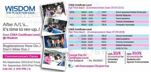 CIMA Foundation Level Classes commence from 7th September 2013 (After A/L 2013) at Wisdom