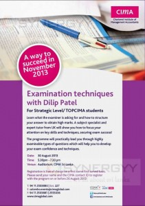 CIMA November 2013 Examination techniques with Dilip Patel in Colombo at 30th August 2013