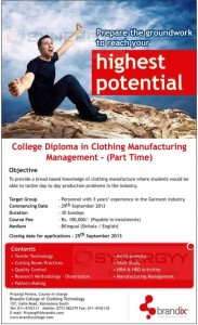 College Diploma in Clothing Manufacturing Management - (Part Time)