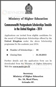 Commonwealth Postgraduate Scholarships for United Kingdom 2014 for 18 Scholarships