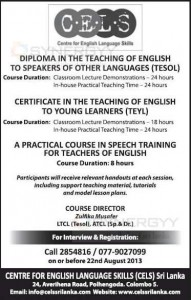 Diploma in the Teaching of English to Speakers of Other Languages (TESOL) by CELS