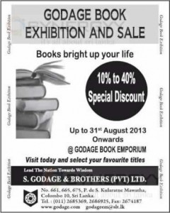 Godage Book Exhibition and Sale till 31st August 2013
