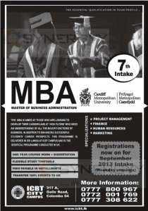 ICBT MBA Degree Programme New Enrollment for September 2013 intakes