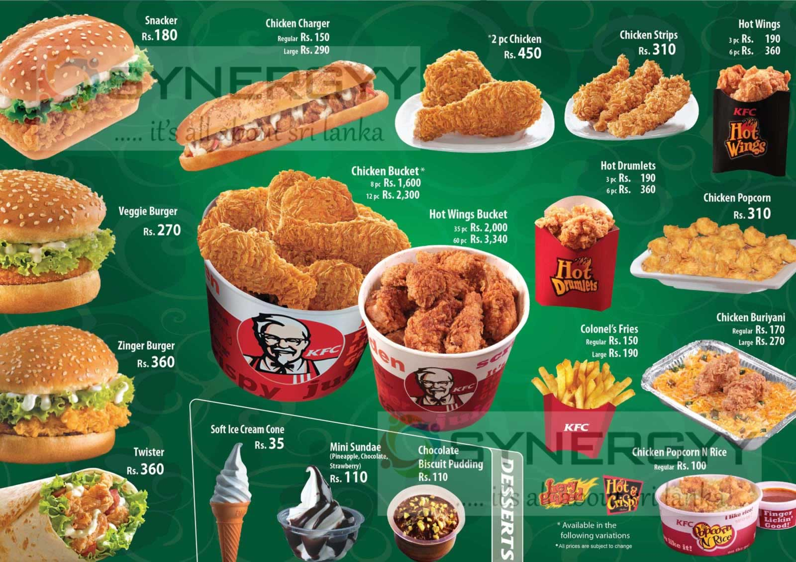 KFC Sri Lanka Menu / Prices – Updated August 2013 – SynergyY
