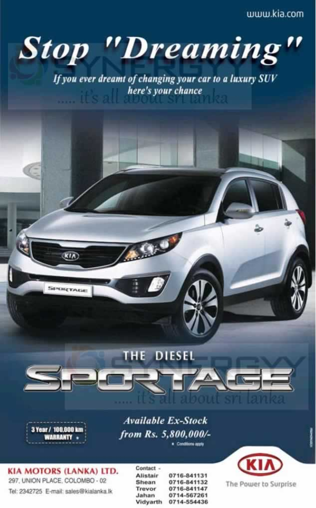 Kia Sportage For Rs 5 800 000 00 In Sri Lanka 171 Synergyy
