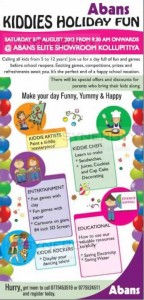 Kiddies Holiday Fun on 31st August 2013 from 9.30 Am at Abans Elite Showroom Kollipitiya