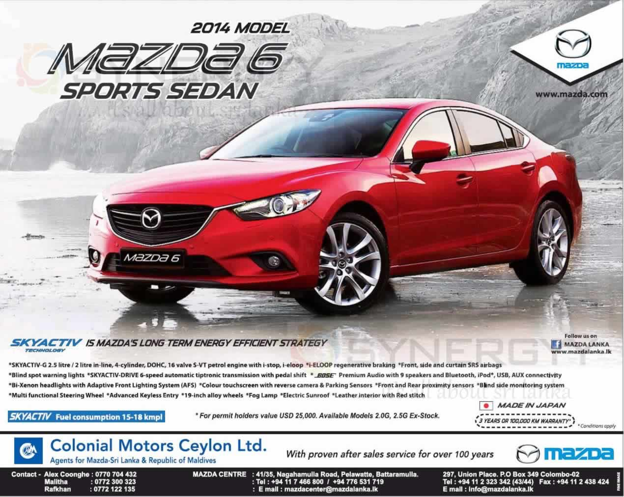 Mazda 6 2014 Model For Usd 25 000 00 For Permit Holders
