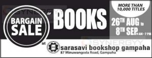 Sarasavi Bookshop Gampaha Bargain Sale from 26th August to 8th September 2013