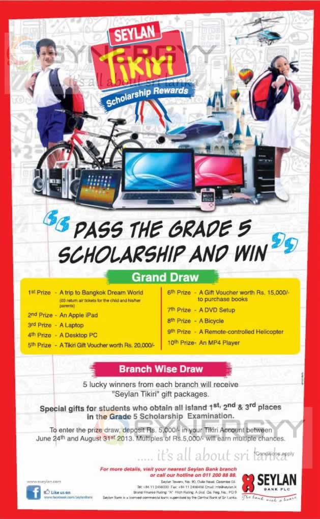 Seylan Tikiri Grade 5 Scholarship Rewards