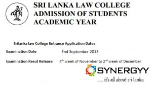 Sri Lanka Law College Entrance Examination 2013 for 2014 academic Year