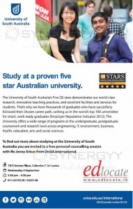 University of South Australia Enrollment Conselling in Colombo on 4th September 2013