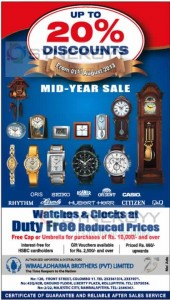 Wimaladharma Brothers Mid-Year Sale starts from 1st August 2013