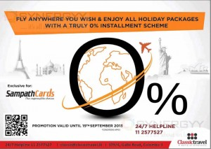 0% Installment Scheme for Sampath Bank Creditcards at Classic Travel