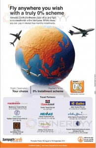 0% Installment Scheme from Sampath Bank for Travel Partners