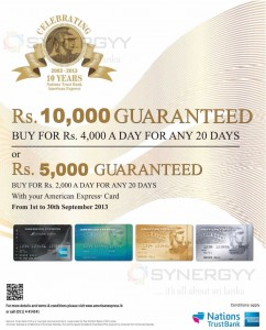 10th Year Celebration Promotion from American Express in Sri Lanka