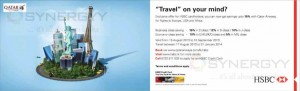 15% off for Qatar Airways for HSBC Credit card till 15th September 2013