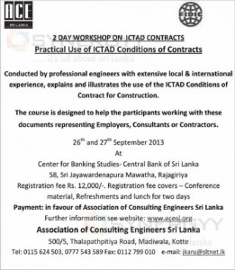 2 day workshop of ICTAD conditions of contracts by Association of Consulting Engineers Sri Lanka
