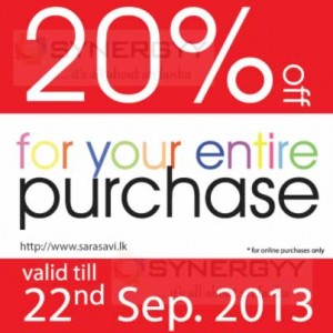 20% off for your entire purchases from Sarasavi Book shop at Colombo International Book Fair