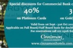 30% to 40% off at Cinnamon Hotel & Resort for Commercial Bank Credit Card
