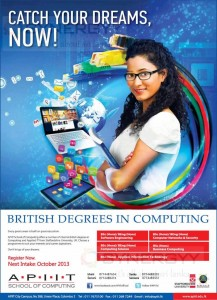APIIT Computing Degree Programmes – October 2013 Enrollment