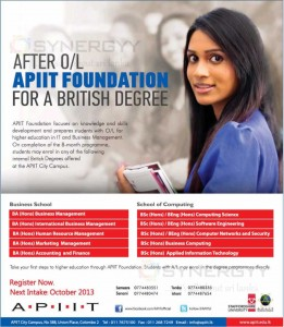 APIIT Foundation for a British Degree After OL's