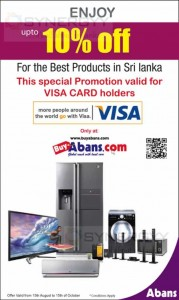 Abans 10% off for Visa Card till 15th October 2013