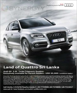 Audi Q5 2.0L Turbo Triptronic Quattro now in Sri Lanka for USD 35,000.00 for permit Holders