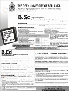 B.Sc and B.Ed Degree Programme 2013 by Open University of Sri Lanka – Applications Call
