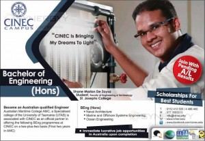 Bachelor of Engineering (Hons) from CINEC Campus – September 2013 intakes