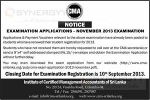 CMA Sri Lanka November 2013 Examination application calls now – Applied before 10th September 2013