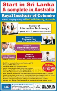 Deakin University of Australia degree Programme in Sri Lanka with Royal Institute
