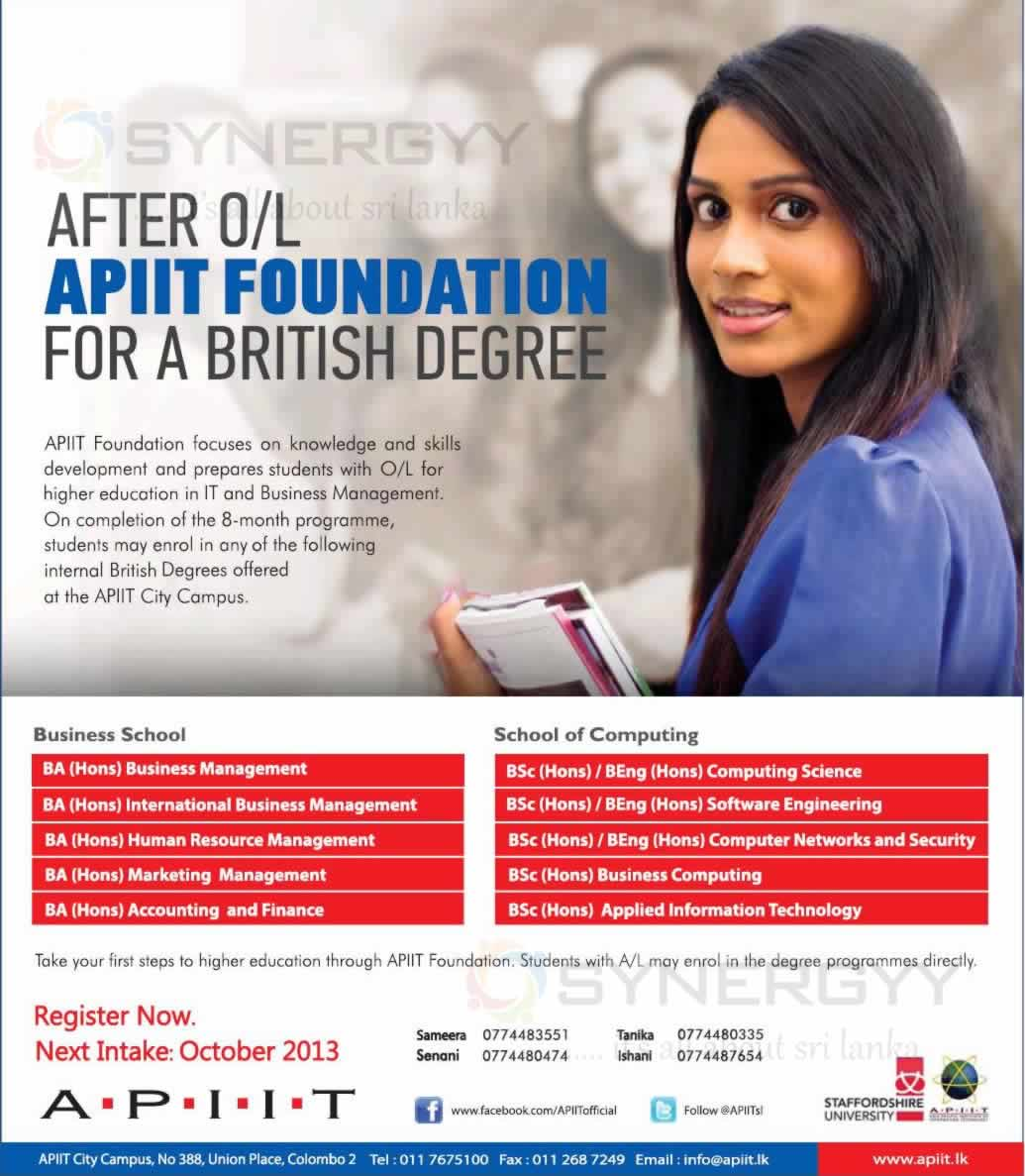Degree Programmes After O/L In Sri Lanka At APIIT