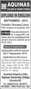 Diploma in English by Aquinas College of Higher Studies – Application issues till 2nd September 2013