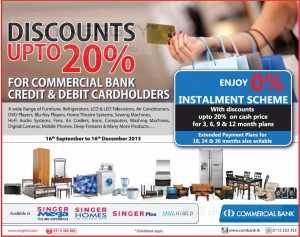 Discount upto 20% for commercial bank credit and debit holders.