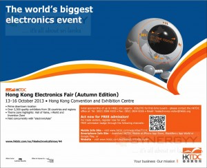 Hong Kong Electronics Fair ( Autumu Edition) from 13th to 16th October 2013