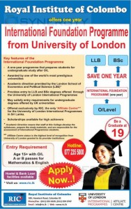 International foundation programme of University of London from Royal Institute of Colombo