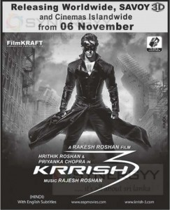 Krrish 3 Releasing on 6th November and Releasing in Sri Lanka at Savoy 3D