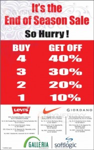 Levi's, Nike and Giordano End of Season Sale