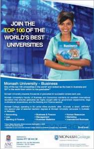 Monash University Degree Programmes in Sri Lanka with ANC