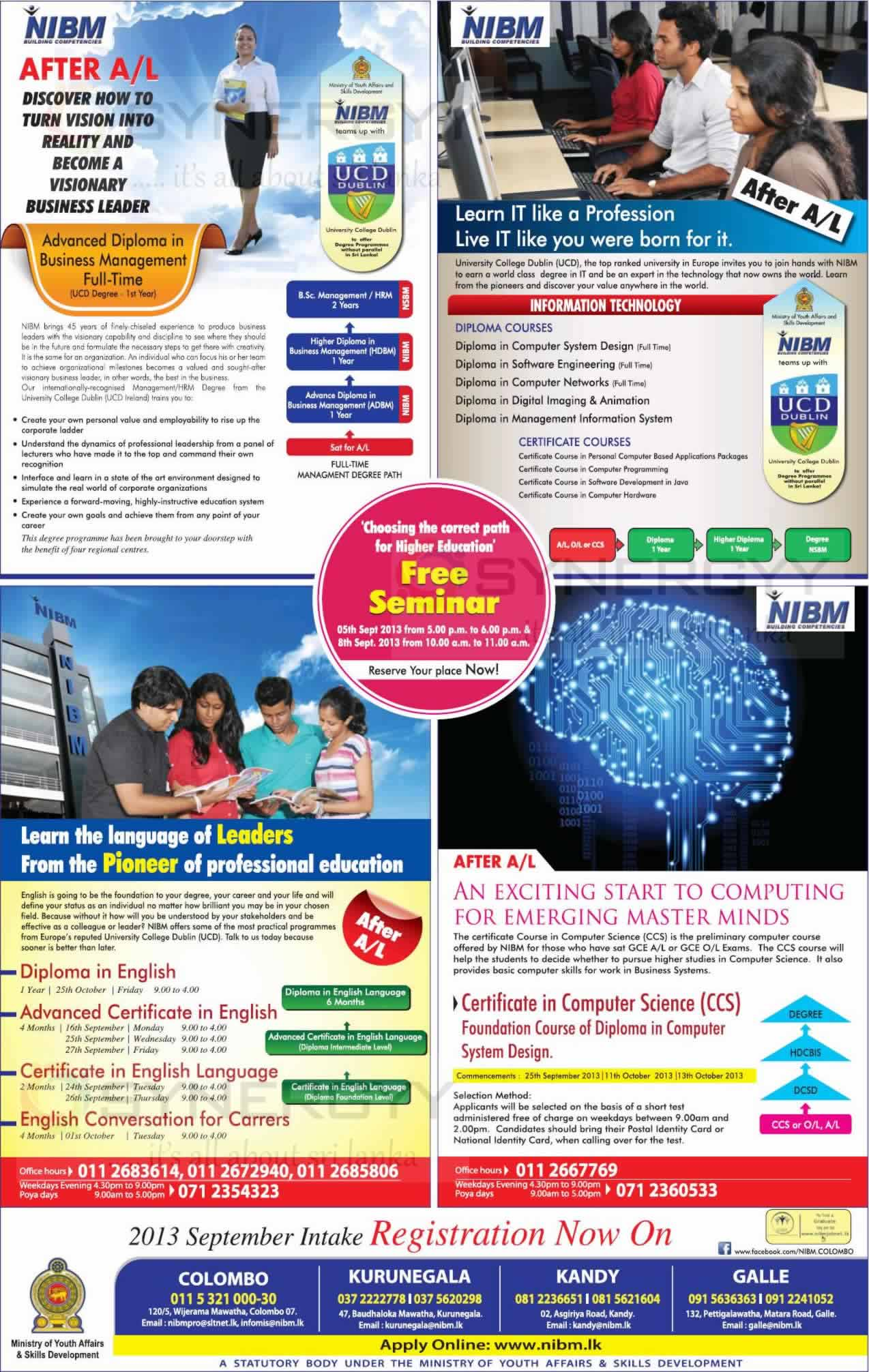 NIBM Certificate Diploma And Degree Programme For September 2013 Intakes