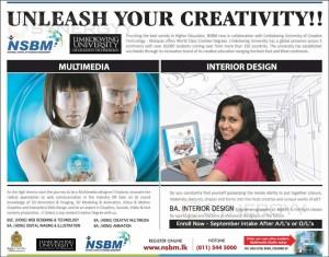 NSBM Degree Programme for Multimedia & Interior Design – September 2013 Intakes