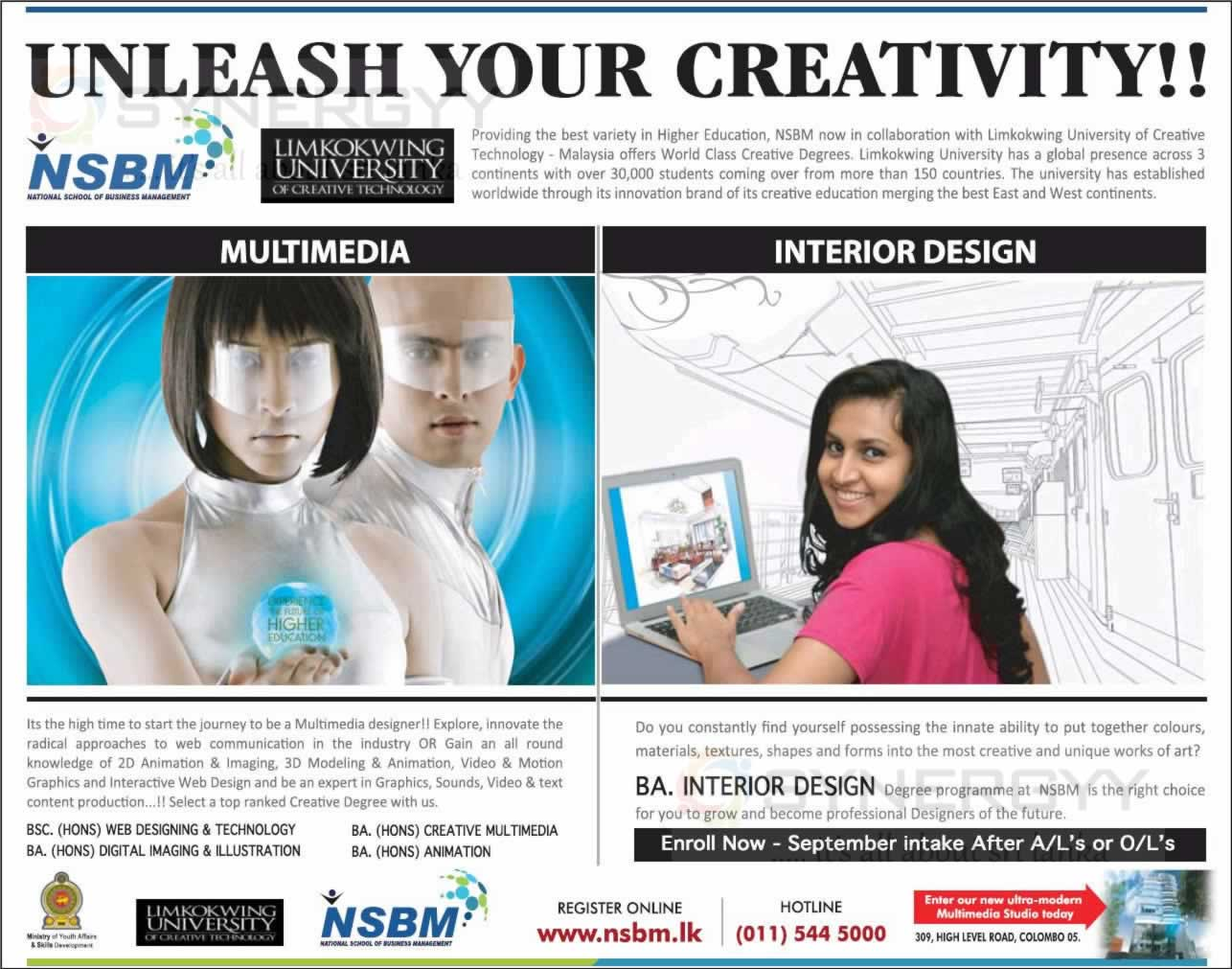 NSBM Degree Programme For Multimedia Interior Design September 2013 Intakes
