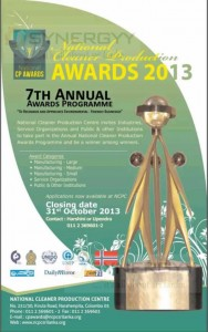 National Cleaner Production 2013 -7th Annual awards programme.