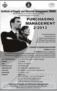 Purchasing management Programme of 22013 by Institute of Supply Materials Management (ISMM)