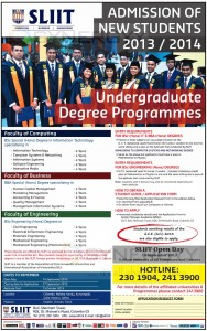 SLIIT Undergraduate Degree Programme – New Enrolment for 20132014