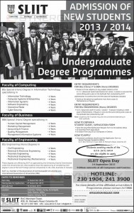 SLIIT Undergraguate Degree Programme Applications are Issuing Now till 27th September 2013