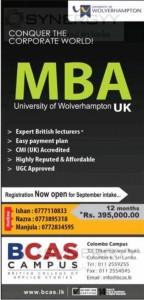 University of Wolverhampton MBA Now in Sri Lanka